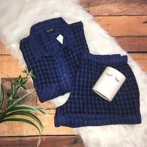 ✨TopShop Blue Plaid 2Pc Pajama Short Set sz 8